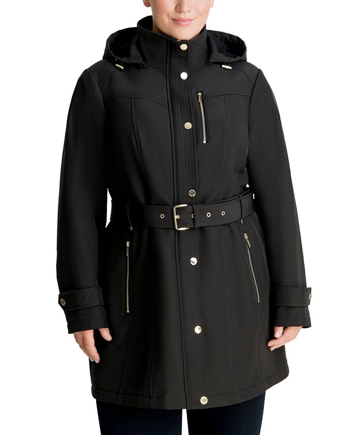 Michael Kors - Plus Size Hooded Belted Raincoat