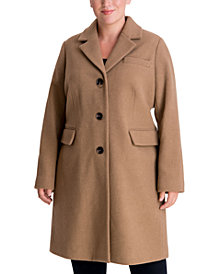 Michael Michael Kors Plus Size Single-Breasted Walker Coat, Created for Macy's