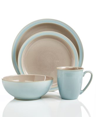 Denby Dinnerware, Duets Taupe and Blue 4 Piece Place Setting