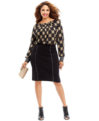 holiday 2013 plus size gilded age printed blouse amp pencil