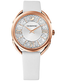 Swarovski Women's Swiss Crystalline Glam White Leather Strap Watch 35mm