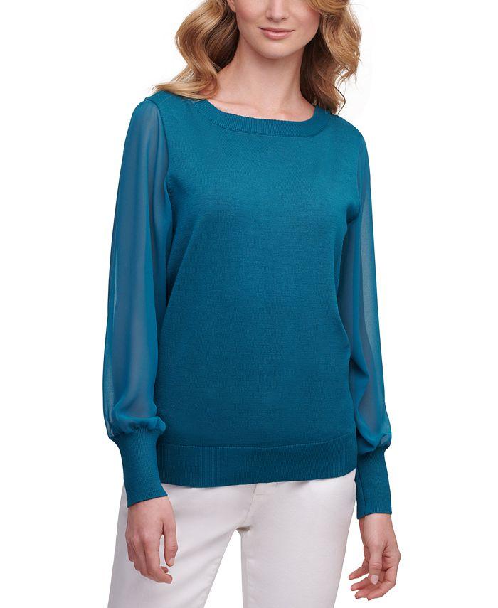 DKNY - Chiffon-Sleeves Sweater
