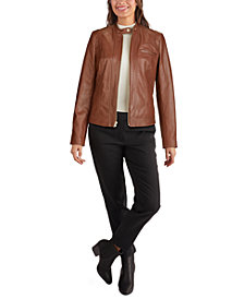 Cole Haan Stand-Collar Leather Moto Jacket