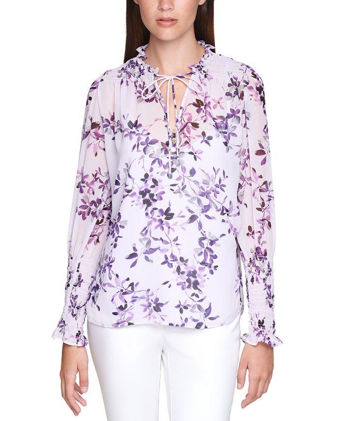 Calvin Klein - Plus Size Floral-Print Smocked Top