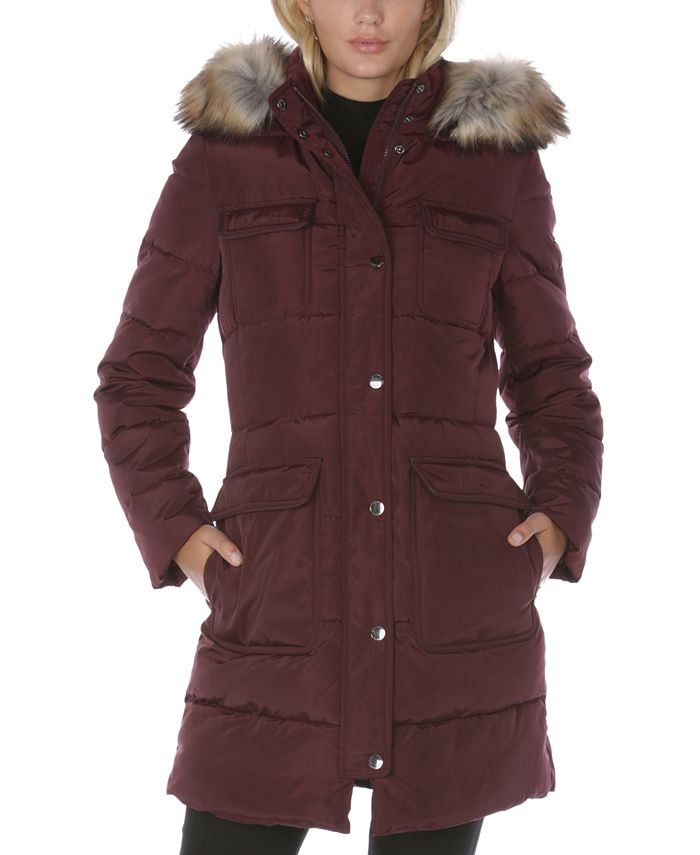Laundry by Shelli Segal - Faux-Fur-Trim Hooded Puffer Coat
