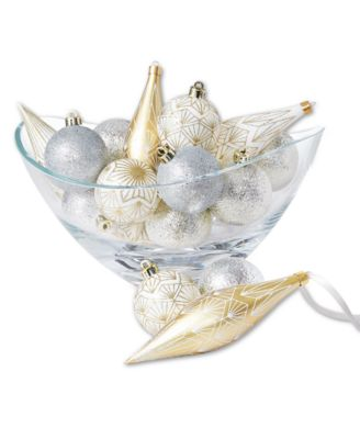Shine Bright Gold and White Shatterproof Ornaments, Set of 16, Created for Macy's