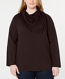 Style & Co Plus Size Cowlneck Fringed Sweater, Created for Macy's