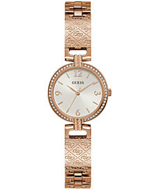GUESS Women's Logo-Textured Rose Gold-Tone Stainless Steel Bracelet Watch 27mm