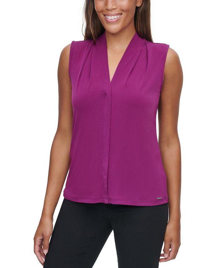 Calvin Klein - Pleated V-Neck Top