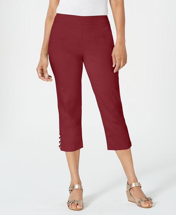 JM Collection - Pull-On Lattice-Inset Capri Pants