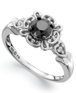 Sterling Silver Ring, Black Diamond (3/4 ct. t.w.) and White Diamond Accent Engagement Ring