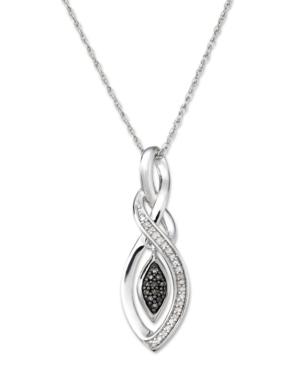 Sterling Silver Necklace, Champagne Diamond (1/10 ct. t.w.) Twist Pendant