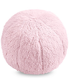 """Whim by Martha Stewart Collection Faux-Fur Pom Pom 10"""" Round Decorative Pillow, Created for Macy's"""