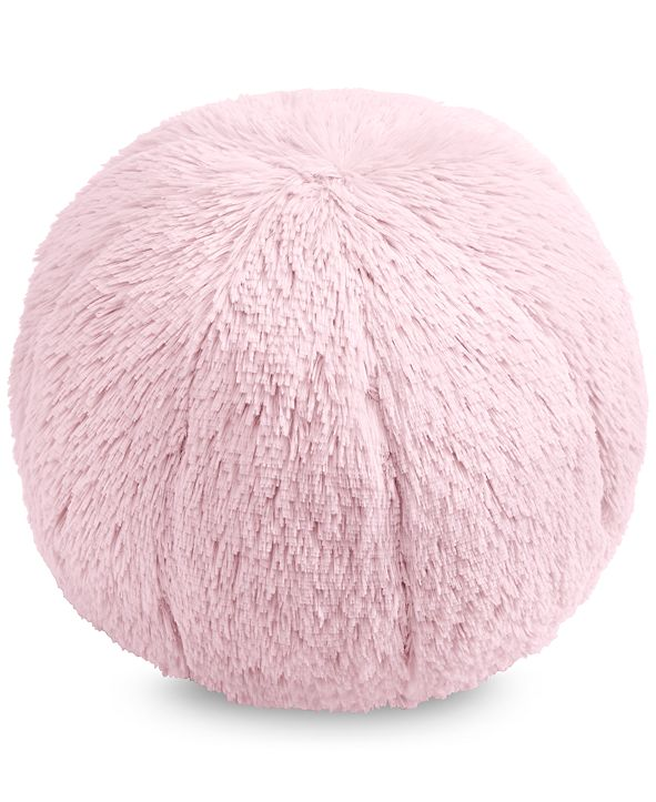 """Martha Stewart Collection Faux-Fur Pom Pom 10"""" Round Decorative Pillow, Created for Macy's"""
