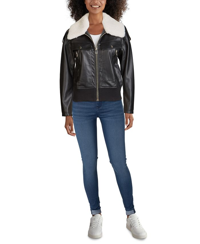 GUESS - Faux-Fur Collar Bomber Faux-Leather Jacket
