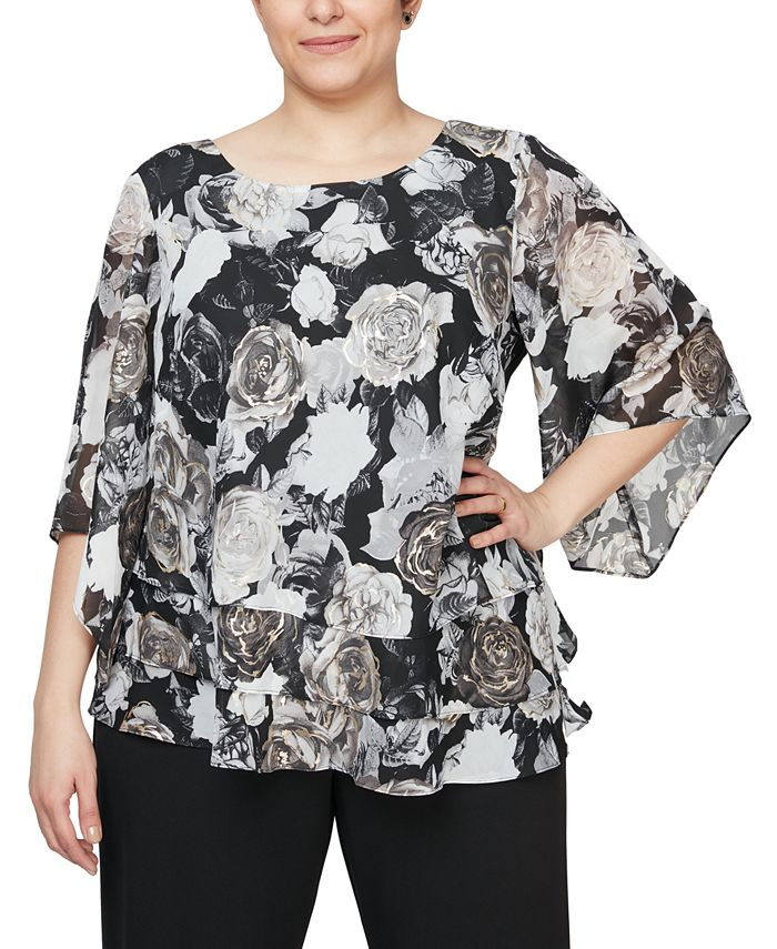 Alex Evenings - Plus Size Chiffon Burnout Floral-Print Top
