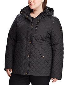 Lauren Ralph Lauren Plus-Size Quilted Hooded Coat, Created for Macy's