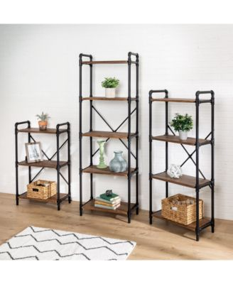 2-Tier Black Industrial Wall Shelf
