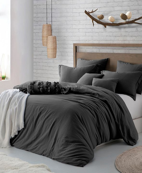 Cathay Home Inc. Microfiber Washed Crinkle Duvet Cover & Shams, King/California King