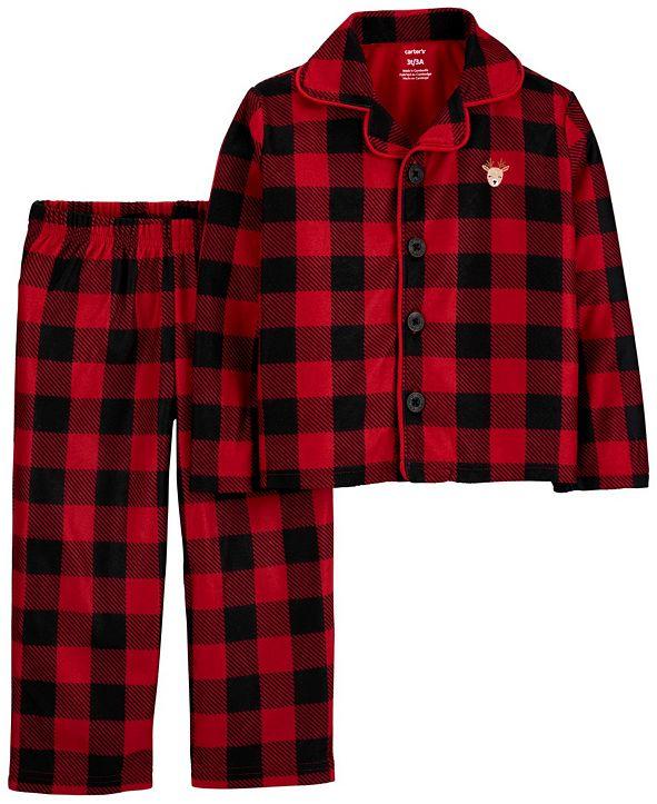 Carter's Toddler Boy or Girl 2-Pc. Buffalo-Check Reindeer Coat-Style Fleece Pajamas