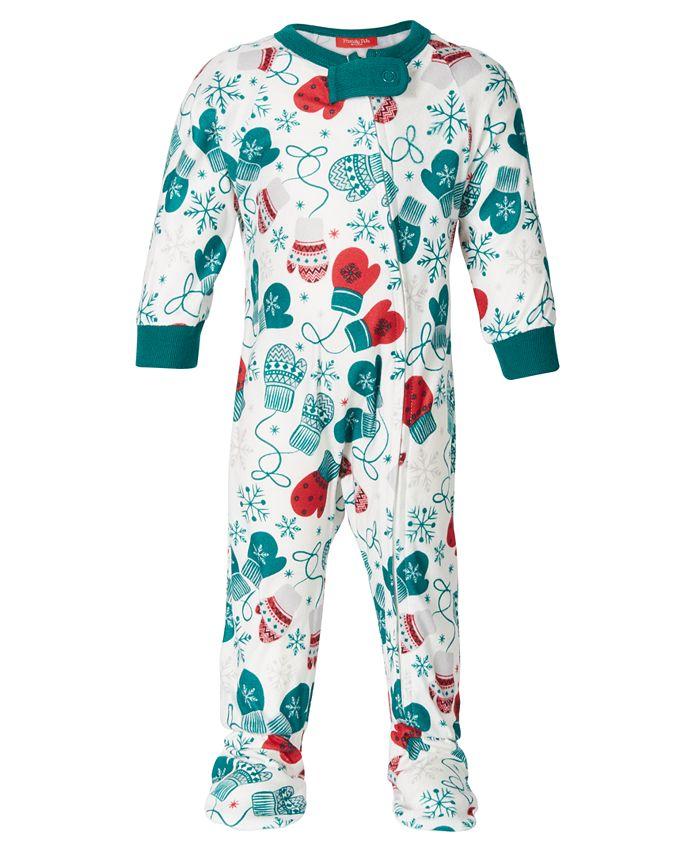 Family Pajamas - Baby Mitten-Print Footed 1-Pc. Pajama