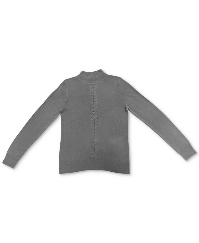 Karen Scott - Plus Size Cable-Front Mockneck Sweater