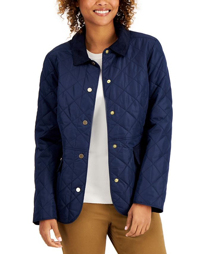 Charter Club - Quilted Corduroy-Trim Jacket