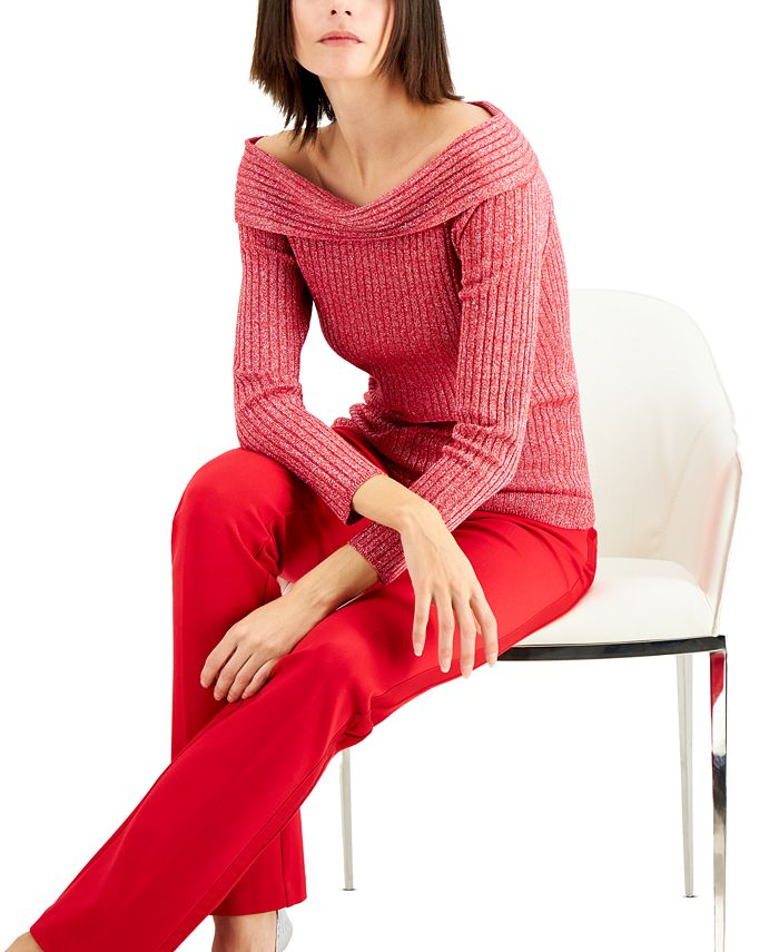 INC International Concepts - Ribbed Off-The-Shoulder Sweater