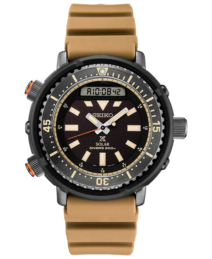Seiko - Men's Solar Analog-Digital Prospex Silicone Strap Watch 47.8mm