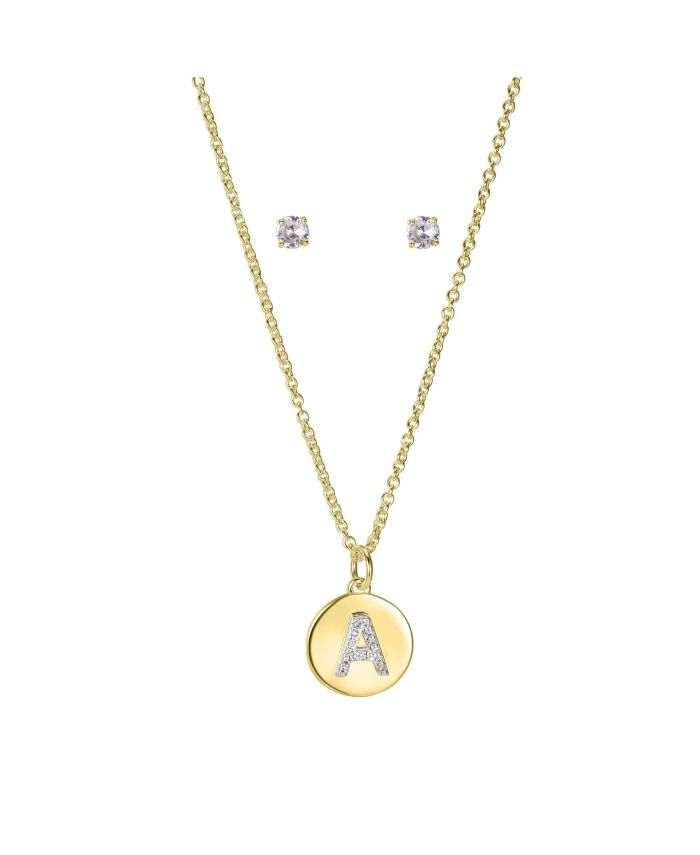 """Unwritten Fine Silver Plated Clear Cubic Zirconia Initial Coin Pendant and Earring Set in Gold, 16""""+2"""" Extender & Reviews - Fashion Jewelry - Jewelry & Watches - Macy's"""