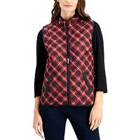 Deals on Karen Scott Womens Petite Quilted Plaid Vest