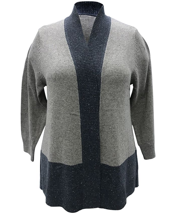 Karen Scott - Plus Size Colorblocked Cardigan