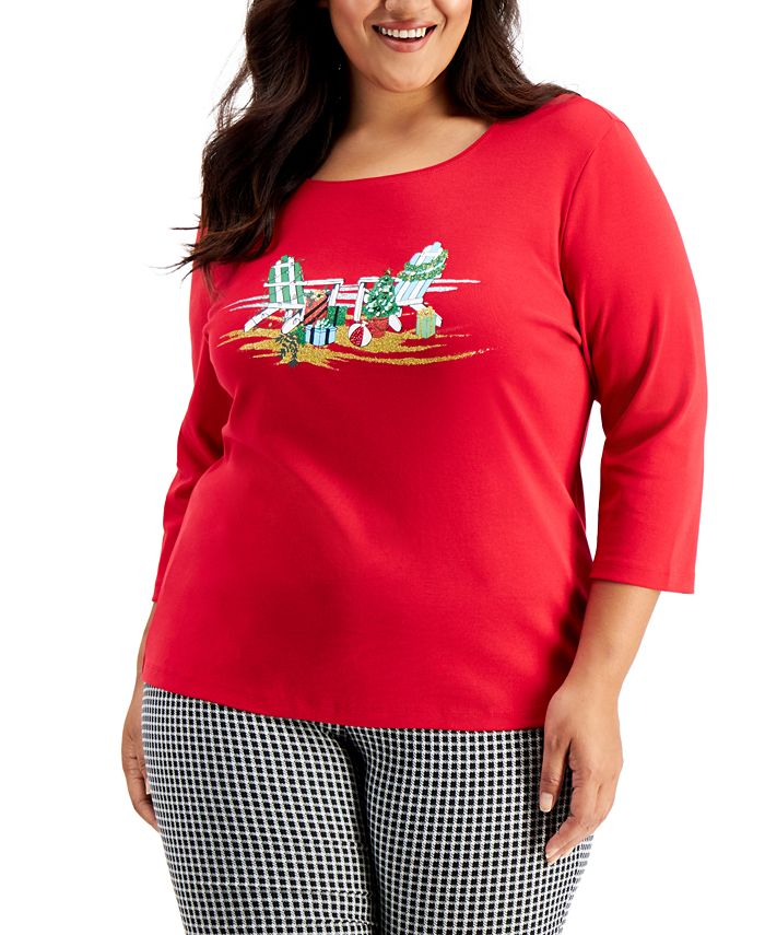 Karen Scott - Plus Size Embellished Holiday 3/4-Sleeve Top