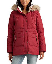 Lauren Ralph Lauren Faux-Fur Trim Hooded Down Coat, Created for Macy's