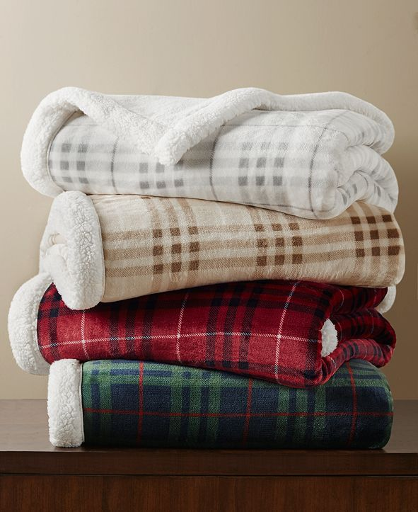 Martha Stewart Collection Sherpa Plaid Throw, Created For Macy's