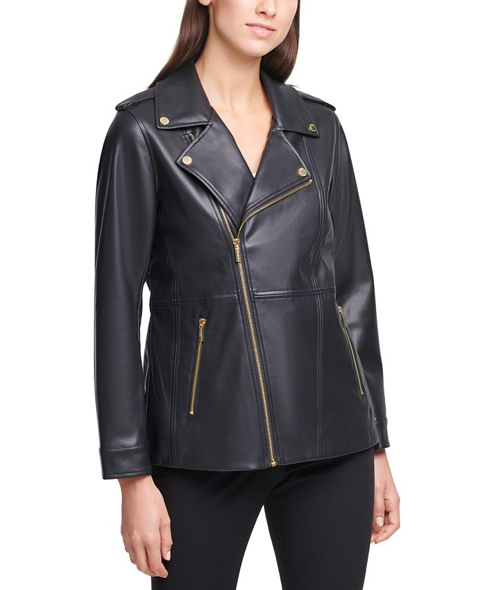 Calvin Klein - Faux-Leather Moto Zippered Jacket