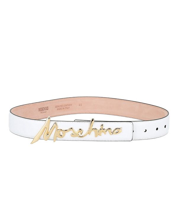 Moschino Women's Leather Signature Logo Thick Belt (37% Off) -- Comparable Value $365