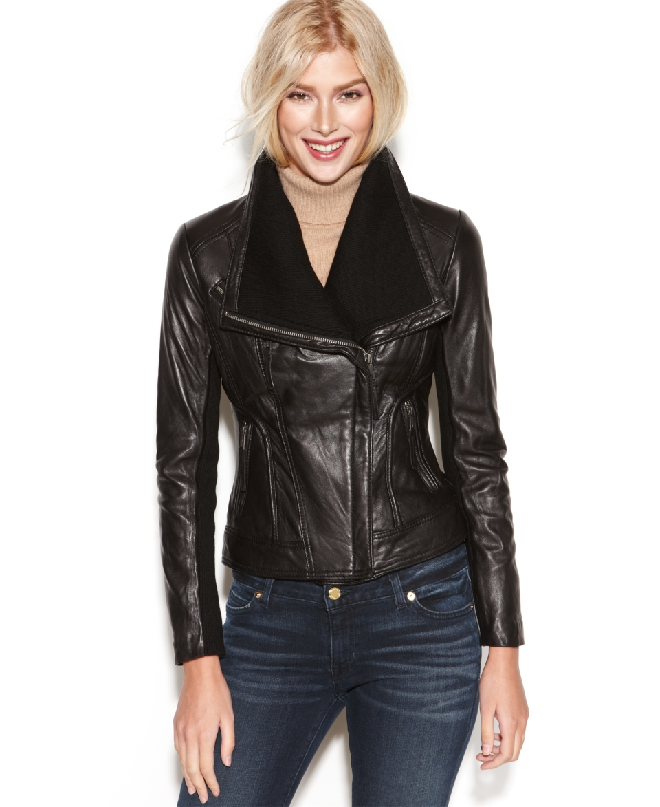 MICHAEL Michael Kors Petite Leather Knit Trim Motorcycle Jacket   Coats   Women