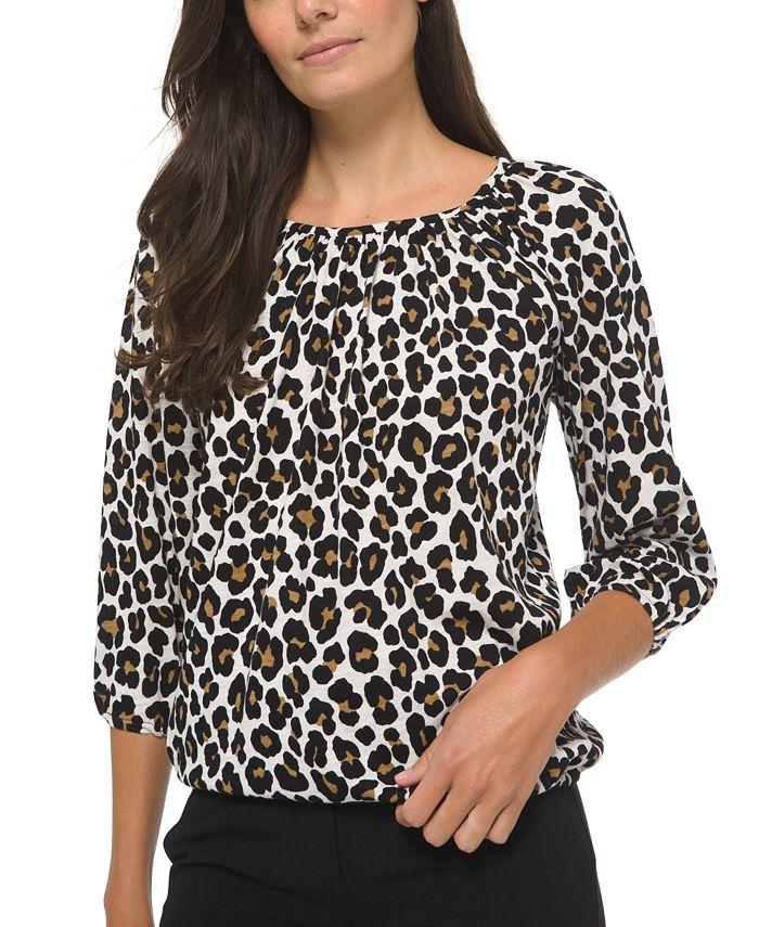 Michael Kors - Plus Size Animal-Print Cotton Peasant Top