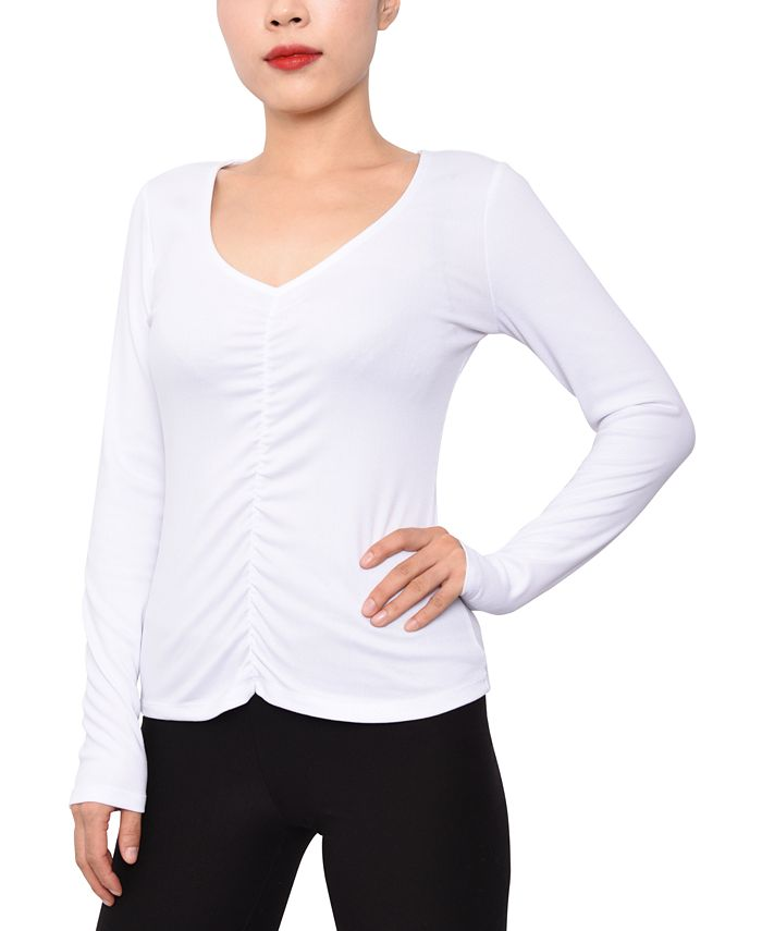 Derek Heart - Juniors' Rib-Knit Ruched Top