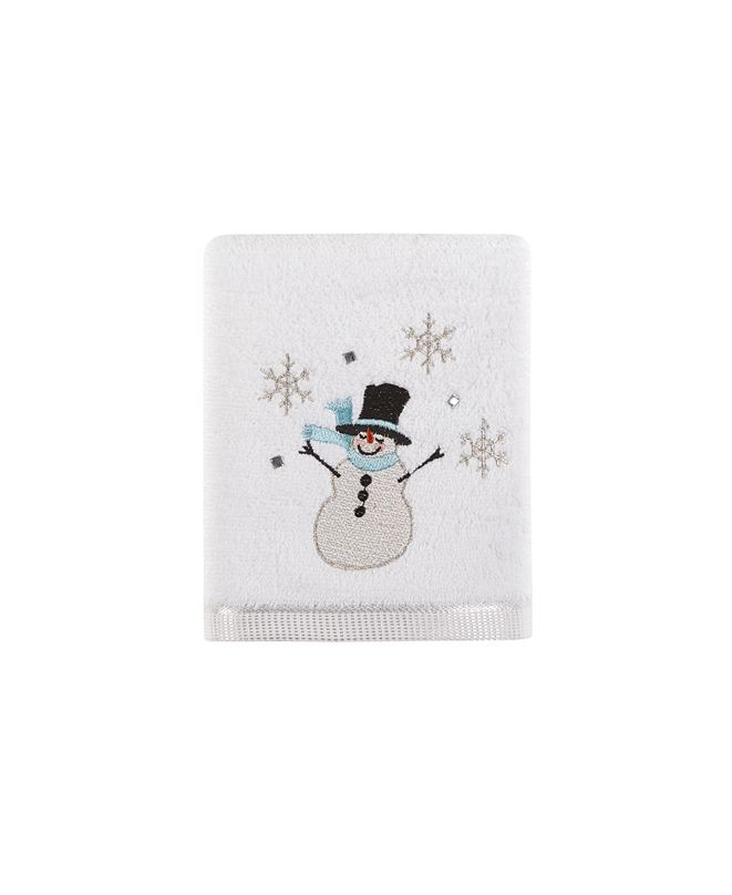 """Martha Stewart Collection Silver Snowman 16"""" x 28"""" Hand Towel, Created for Macy's"""