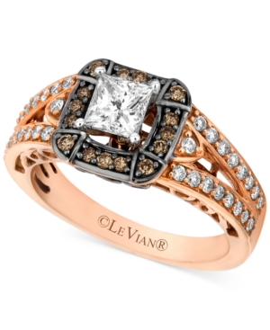 Le Vian 14k Rose Gold Chocolate Diamond (1-1/10 ct. t.w) and White Diamond (7/8 ct. t.w.) Engagement Ring