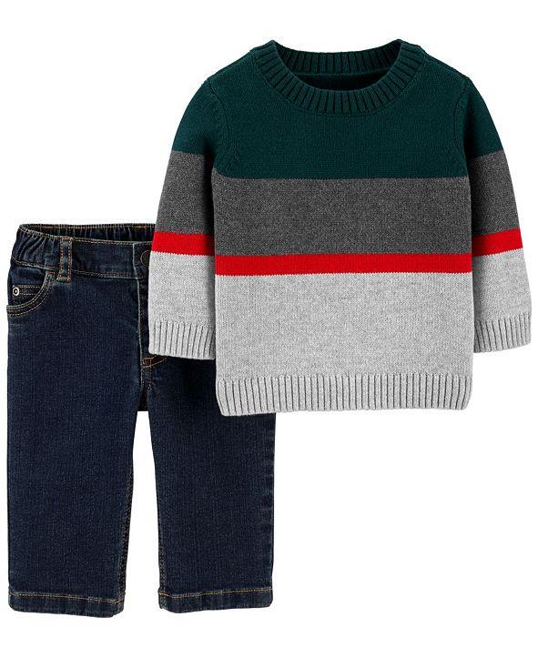 Carter's Baby Boy 2-Piece Striped Sweater & Jeans Set