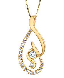 "Diamond Swirl 18"" Pendant Necklace (5/8 ct. t.w.) in 14k Gold"