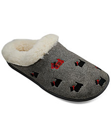 Charter Club Scottie Dog Faux-Fur Slippers, Created for Macy's