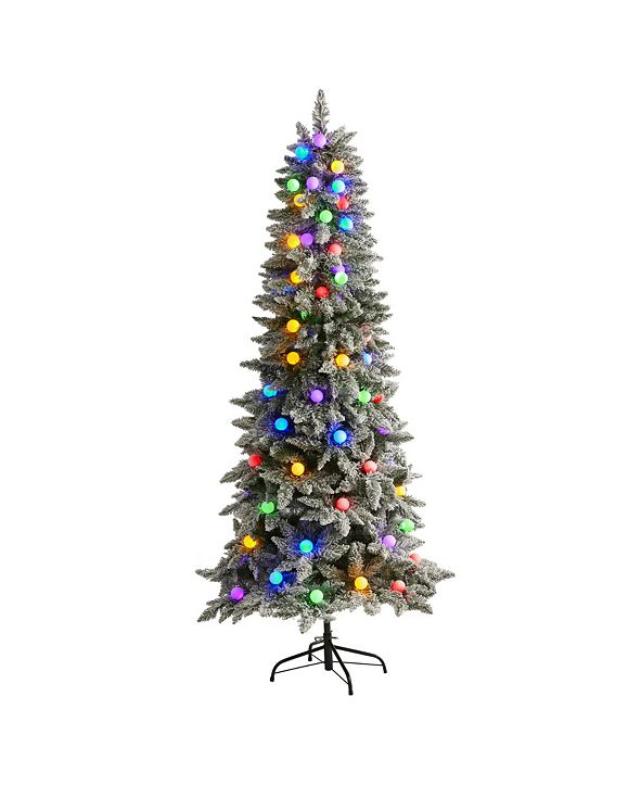 Nearly Natural Flocked British Columbia Mountain Fir Artificial Christmas Tree in Decorative Planter with 75 Multi Color Globe Bulbs and 679 Bendable Branches