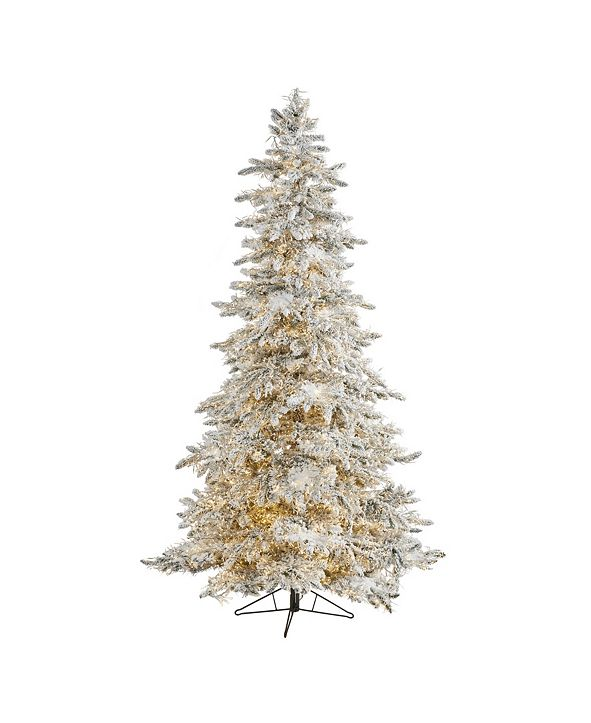 Nearly Natural Flocked Grand Northern Rocky Fir Artificial Christmas Tree with 6672 Warm Cluster Multifunction LED Lights and 1071 Bendable Branches
