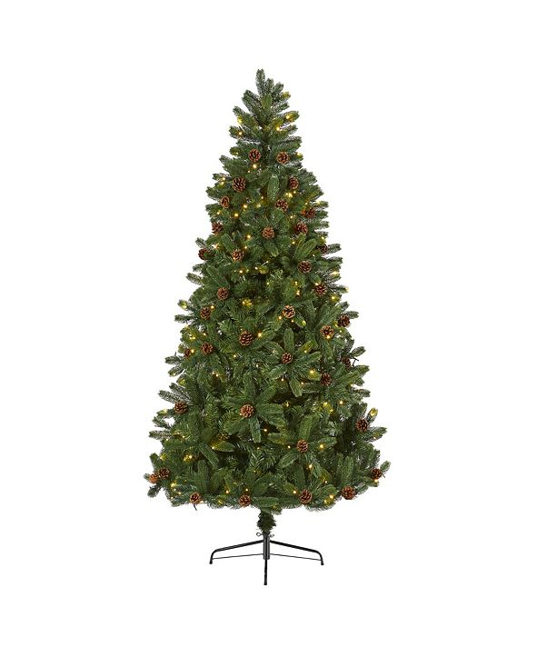 Nearly Natural Rocky Mountain Spruce Artificial Christmas Tree with Pinecones and 400 Clear LED Lights