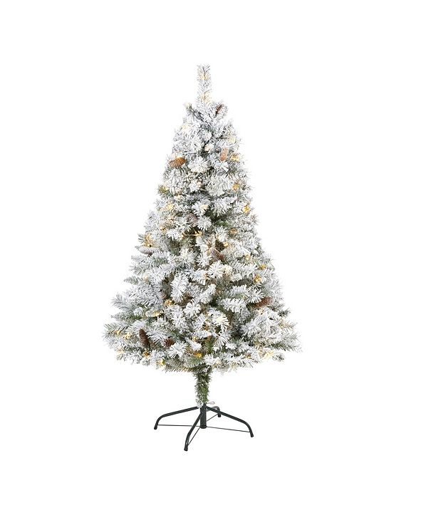 Nearly Natural Flocked River Mountain Pine Artificial Christmas Tree with Pinecones and 150 Clear LED Lights