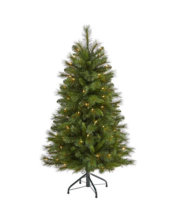 Nearly Natural West Virginia Mountain Pine Artificial Christmas Tree with 100 Clear Lights and 322 Bendable Branches
